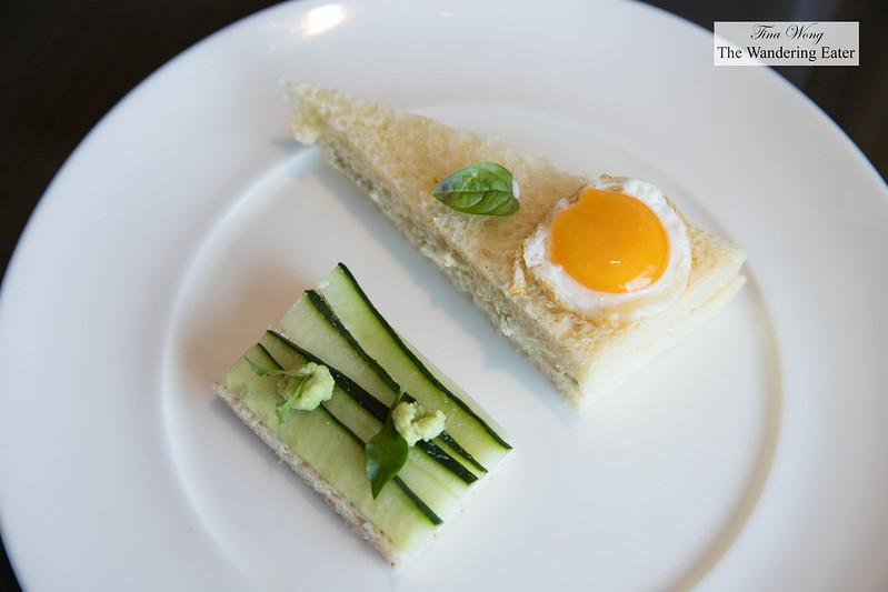 Egg sandwich and cucumber tea sandwich