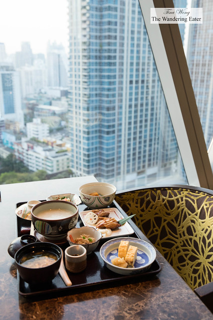Japanese breakfast with a view