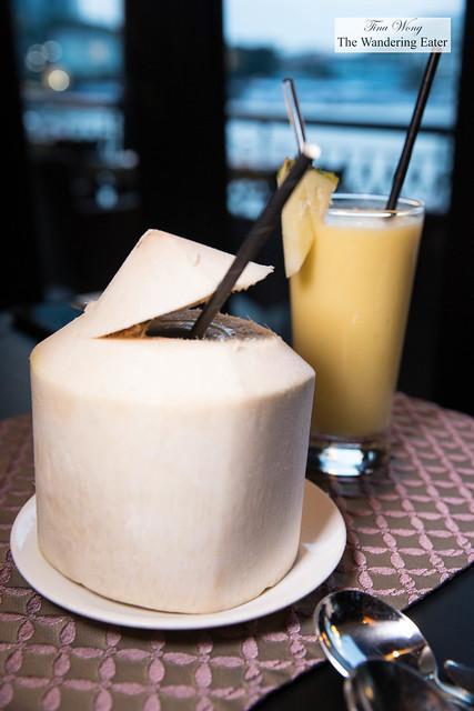 Fresh coconut water and Mango juice