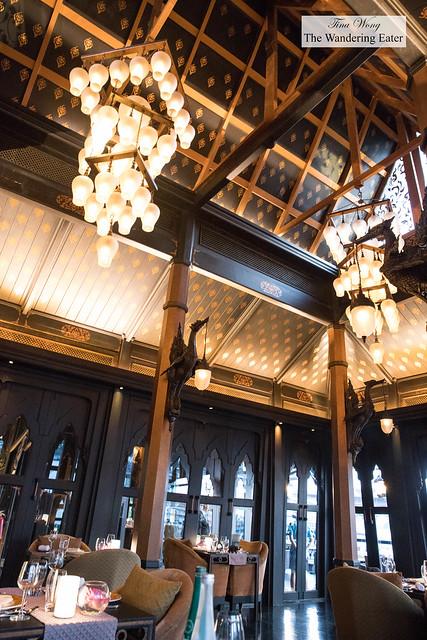 Tall ceiling inside the teak house of Salathip