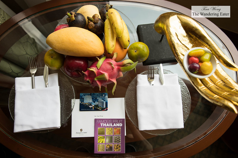 Welcoming fruit and Thai sweets