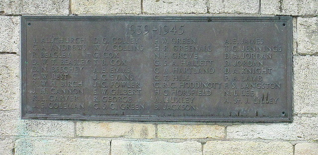 Second World War Memorial Plaque, Evesham
