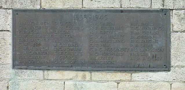 Second World War Memorial Plaque, Evesham