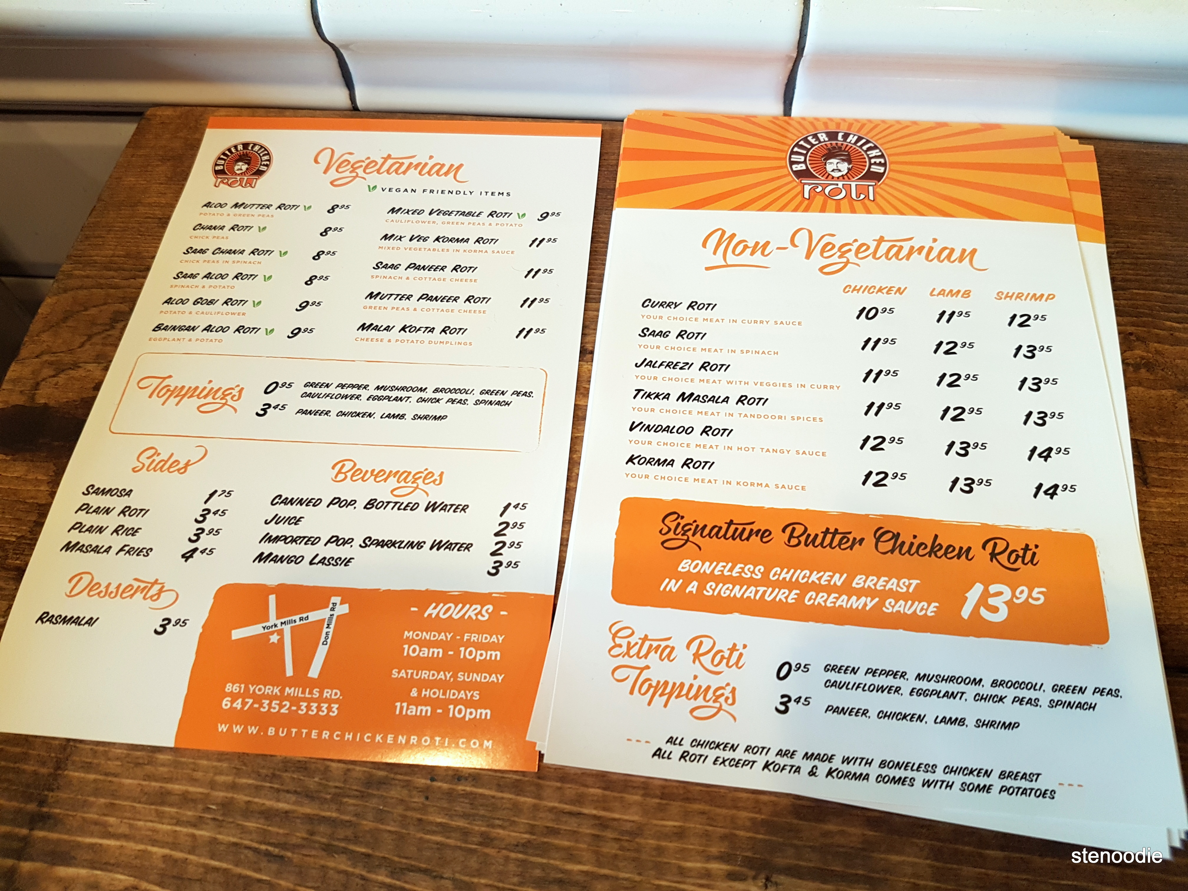 Butter Chicken Roti York Mills paper menu and prices