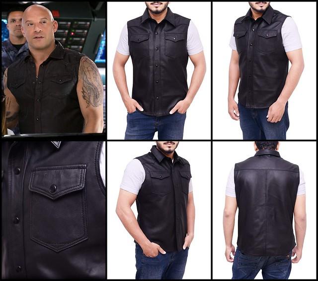 New Men's Vin Diesel XXX Return of Xander Cage Black Biker Leather Vest