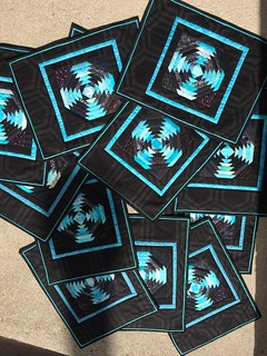 """Turquoise and black oineapple placemats. 13""""x17"""""""