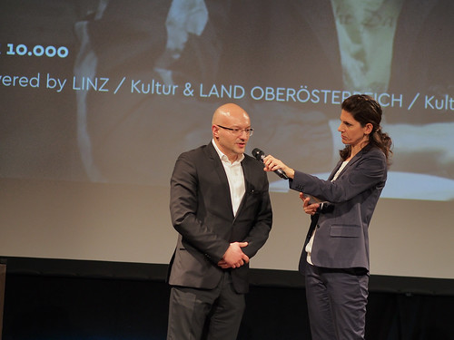 CE19 – awards ceremony // Almir Balihodzic (Councilman), Moderator Karin Schmid // photo © Michael Straub / subtext.at
