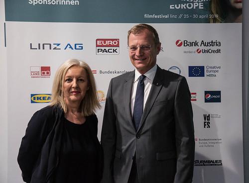 CE19 - Award Ceremony / Christine Dollhofer (Festival Director), Thomas Stelzer (Governor) // photo © Christoph Thorwartl / subtext.at