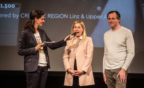 CE19 - Award Ceremony // Moderator Karin Schmid, Doris Lang-Mayerhofer (City Counselor), Patrick Bartos (Creative Region Linz & Upper Austria) // photo © Christoph Thorwartl / subtext.at