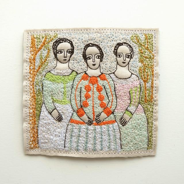 three women (orange and mint)