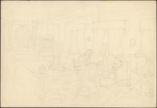 Sketch of a living room with four seated people reading or writing near windows, Ontario / Croquis d'un salon avec quatre personnes assises, lisant ou écrivant près de fenêtres (Ontario)