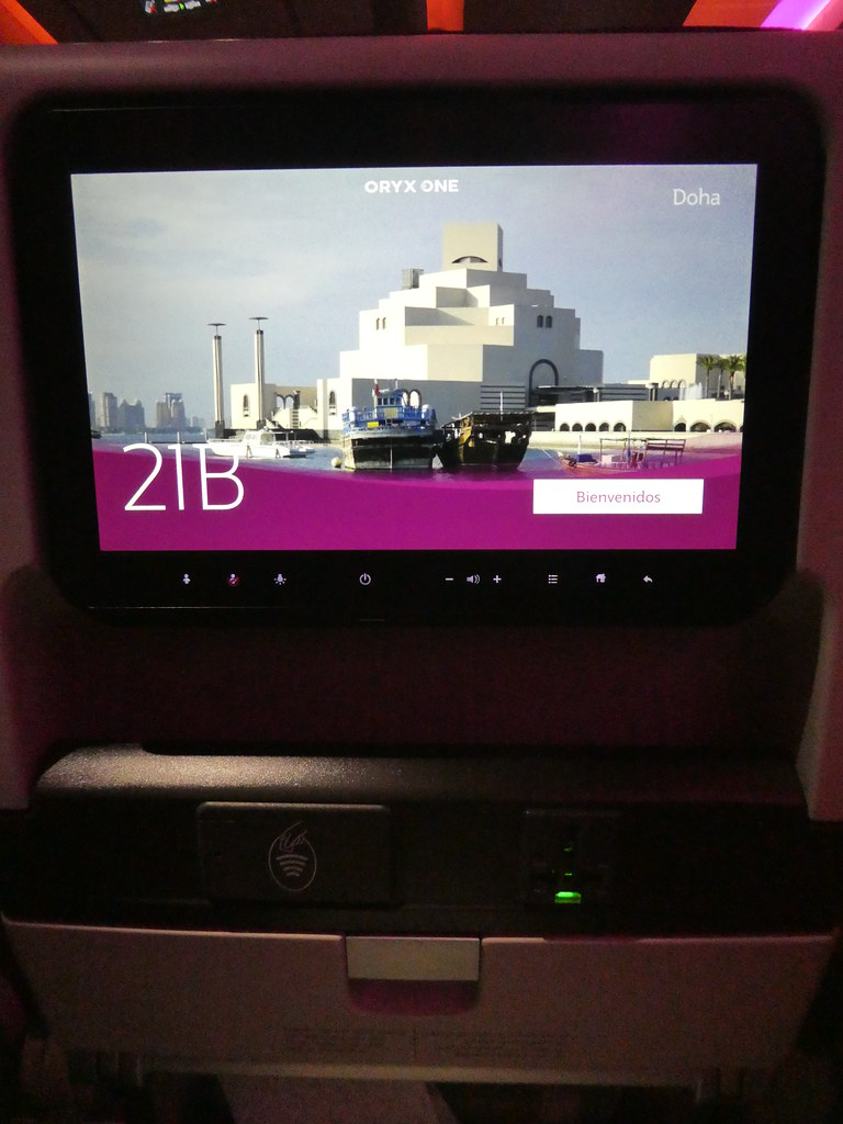On board the Qatar Airways A350 airliner to Doha