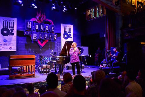 Missy Bowen hosts at Piano Night - April 29, 2019. Photo by Eli Mergel.