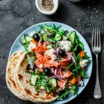 Greek salad with baked salmon...