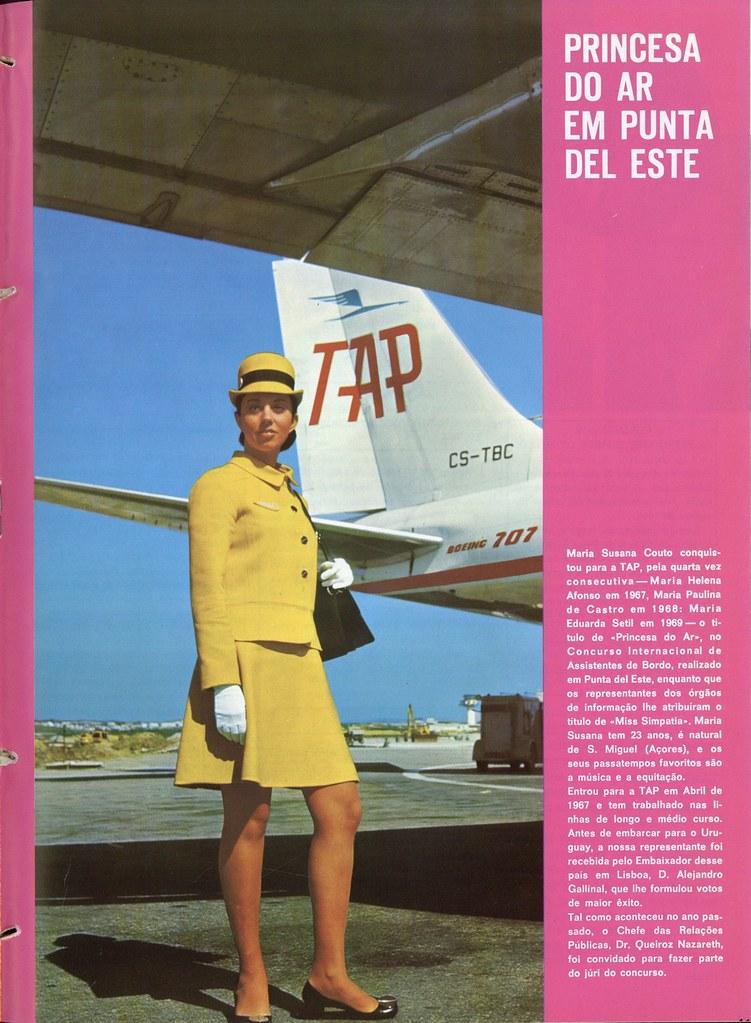 A/B Maria Susana Couto da TAP sob a asa do B707 – CS-TBC, «Luanda», Aeroporto da Portela, 1970.