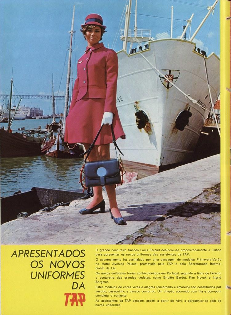 M.ª Teresa Monteiro com novo uniforme da TAP, Cais da Rocha (in Inter TAP, n.º 28, Jan.–Mar., 1970, pp. 10)