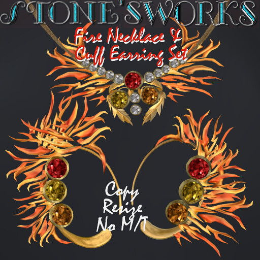 Fire Ear Cuffs & Necklace Set Stone's Works