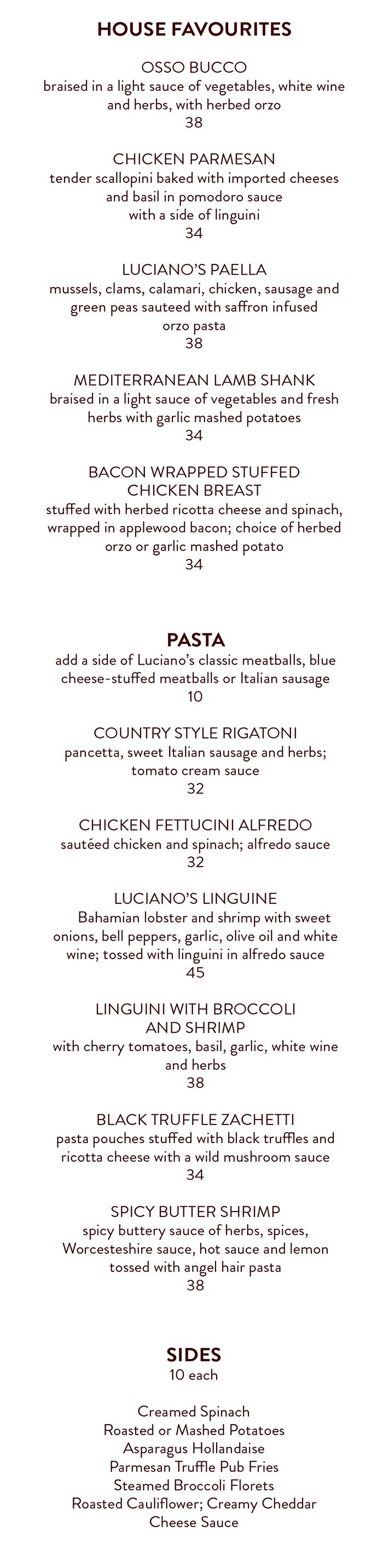 LOC Dinner Menu 2019 - Favs