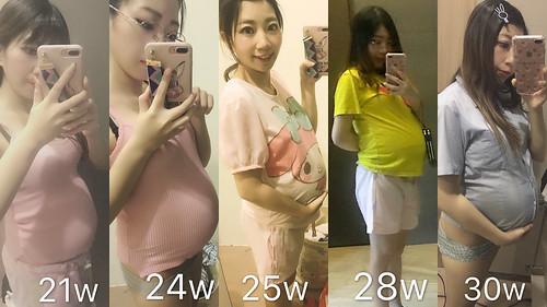 孕期心情分享~ 我的肚子長大的變化!熊寶寶真的長大了!我的肚子大到嚇到人?!