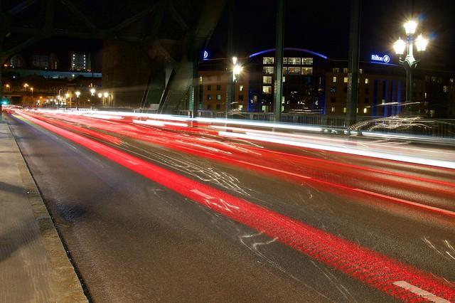 Light trails on Tyne Bridge.