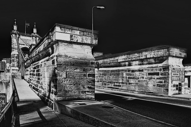 John A. Roebling Suspension Bridge, Cincinnati, Ohio, USA / Built: 1856—1867 / Architect: John A. Roebling / Added to NRHP: May 15, 1975