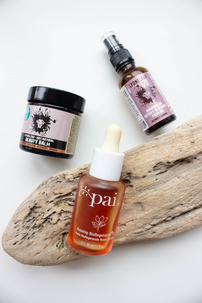 Low waste skincare items; Pai Rosehip Bioregenerate oil, and Lyonsleaf Beauty Balm and facial oil.