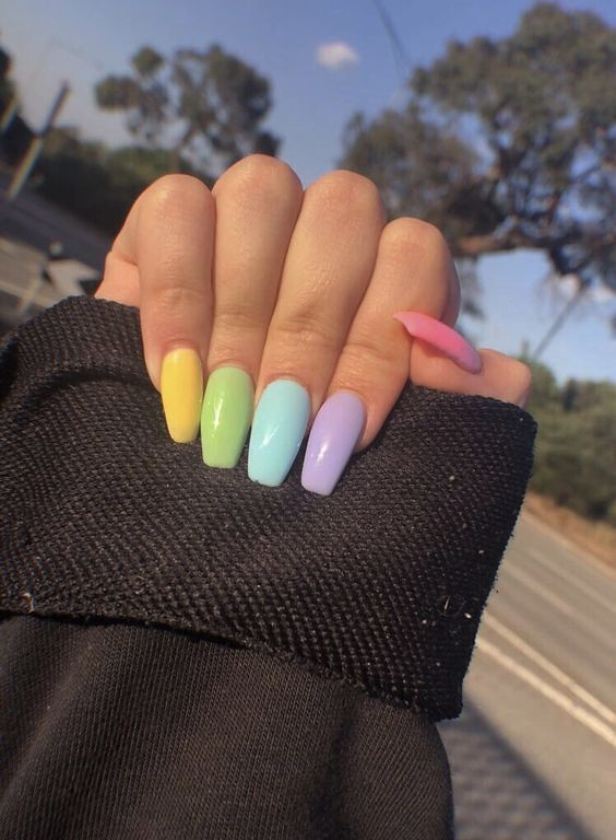 Pastel Neon Acrylic Nails | Acrylic Nail Designs To Rock This Spring | short coffin acrylic nails