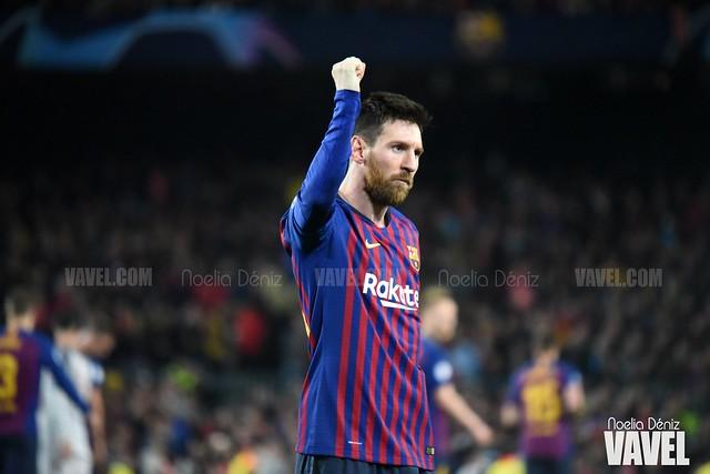 Leo Messi celebrando un gol en el partido de ida de las semifinales de la UEFA Champions League, disputado ante el Liverpool Football Club de Jürgen Klopp en el Camp Nou | Foto de Noelia Déniz, VAVEL