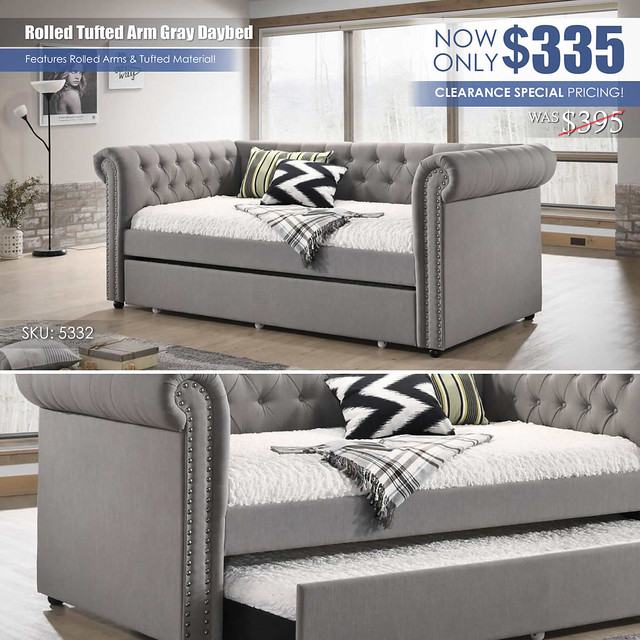Rolled Tufted Arm Daybed_Gray_CLEARANCE_5332