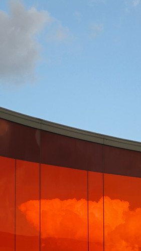 The orange section of the Rainbow Walk on the top of the ARoS Museum of Modern Art in Aarhus, Denmark