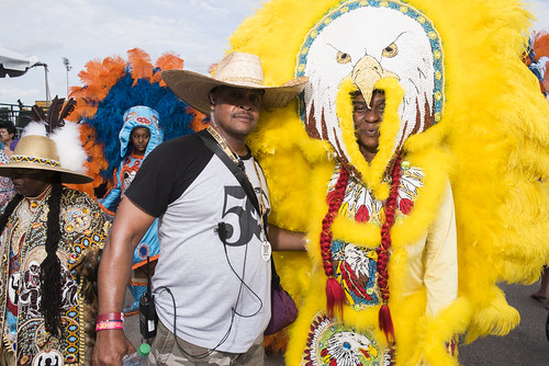 Gang Flag Zee and Flag Queen Kelly with Creole Osceolas Black Indians of Mardi Gras at Jazz Fest day 6 on May 3, 2019. Photo by Ryan Hodgson-Rigsbee RHRphoto.com