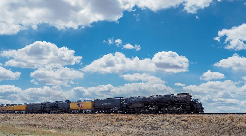 Union Pacific steam engines (4015 & 844) heading from Cheyenne to Ogden.