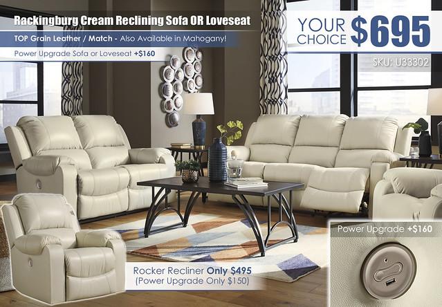 Rackingburg Cream Reclining Sofa or Loveseat_U33302-87-74-98-T343