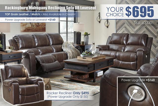 Rackingburg Mahogany Reclining Sofa or Loveseat_U33301-87-74-98-T892