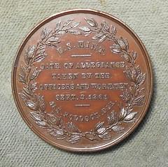 1861 Washington Oath Of Allegiance Medal reverse