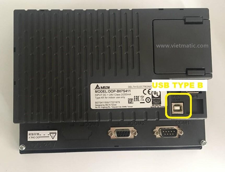 Màn hình Delta DOP có cổng USB Type B