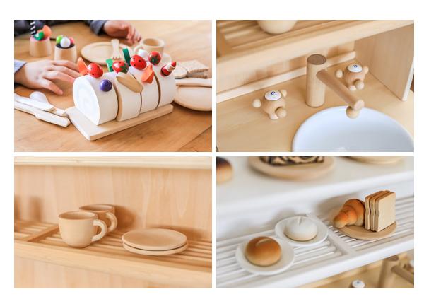 木のおもちゃ ミラン  ロールケーキ 食器 パン