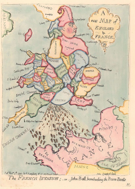 "Satirical map ""The French Invasion; or John Bull, bombarding the Bum-boats"" (1791)"