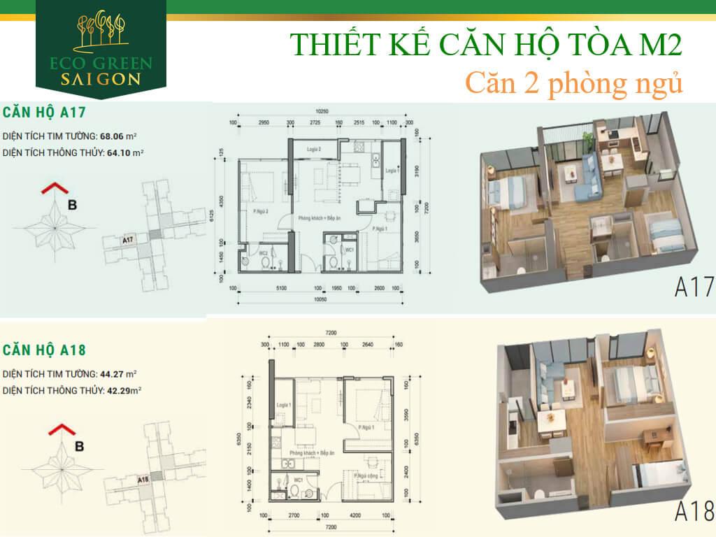Mặt bằng căn hộ A17-A18, loại 2 phòng ngủ, tòa tháp M2 dự án Eco-Green Sài Gòn quận 7.