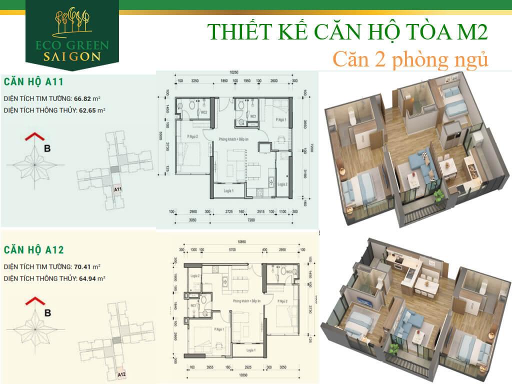 Mặt bằng căn hộ A11-A12, loại 2 phòng ngủ, tòa tháp M2 dự án Eco-Green Sài Gòn quận 7.