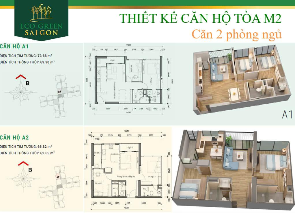 Mặt bằng căn hộ A1-A2 tòa M2 dự án Eco-Green Sài Gòn quận 7.