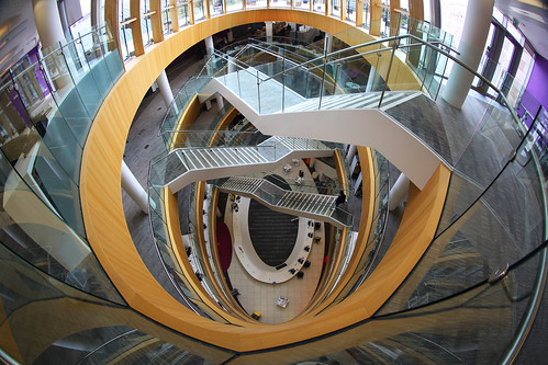 atrium stairs liverpoolcentrallibrary architecture building waydown elevatedview library canon5dmarkiii fisheye ef815mmf4lfisheyeusm travel england uk lifeng