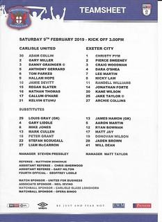 Carlisle United V Exeter City 9-2-19 | by cumbriangroundhopper