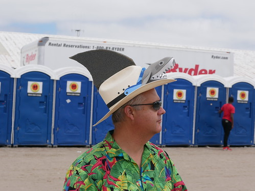 Shark fashion  on Day 8 of Jazz Fest - 5.5.19. Photo by Louis Crispino.