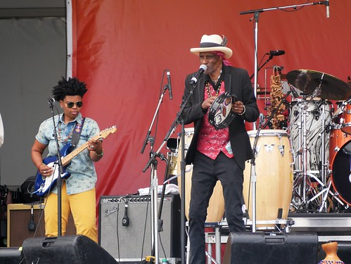 Cyril Neville's Swamp Funk  on Day 8 of Jazz Fest - 5.5.19. Photo by Louis Crispino.