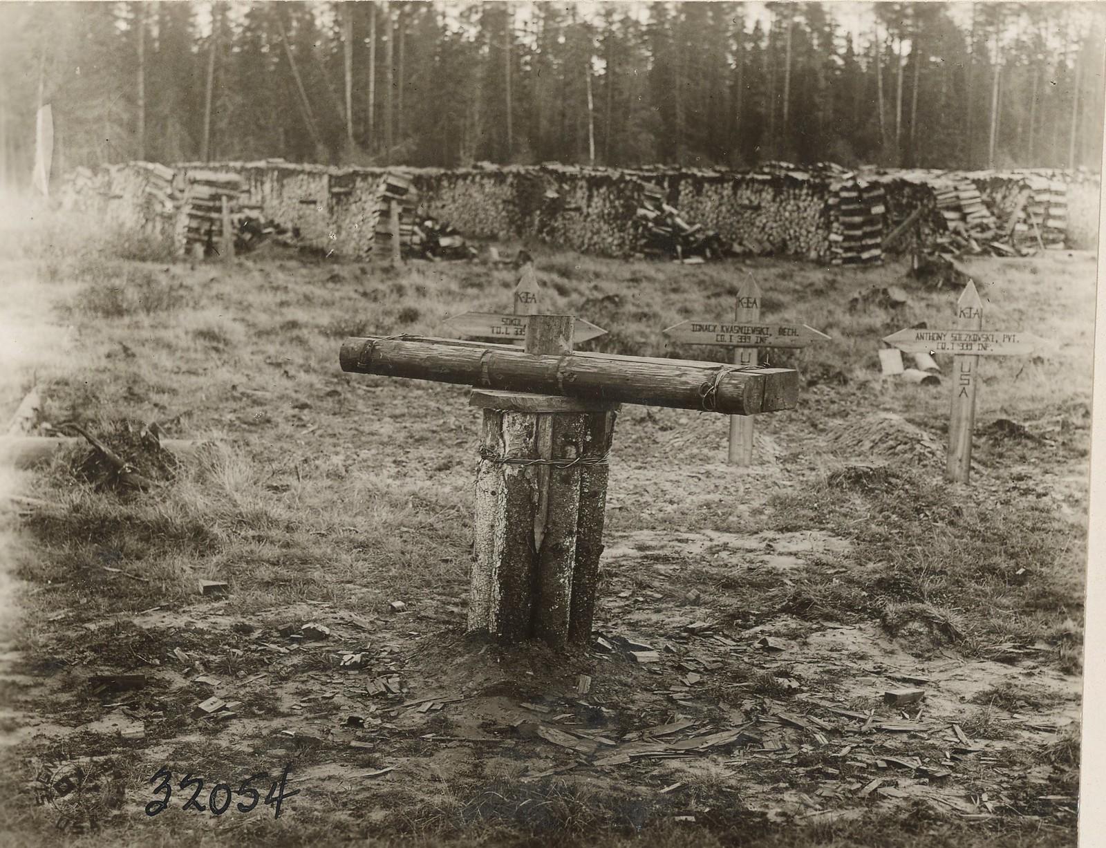 Обозерская. Захваченное деревянное орудие большевиков