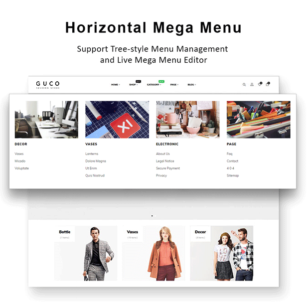 At Guco - shoes Fashion PrestaShop Themee - Mega menu