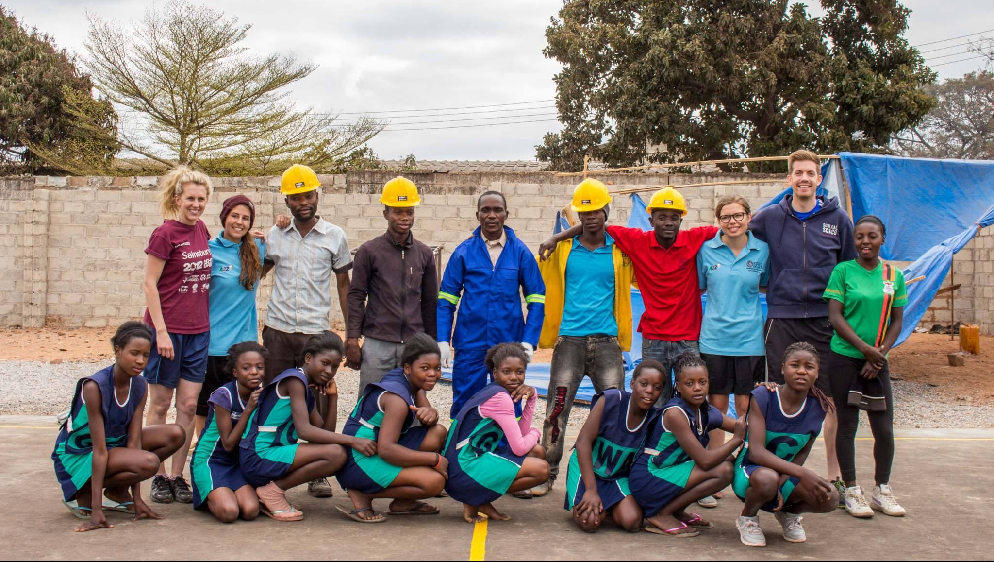 Zambian netball players and contractors with the University of Bath team