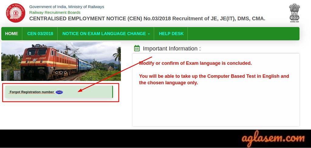 RRB JE Forgot Registration Number 2019