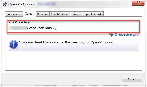 OpenIV Game Folder Path